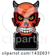 Clipart Of A Halftone Devil Skull Over A Blank Sign Royalty Free Vector Illustration by Cory Thoman