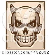 Clipart Of A Halftone Devil Skull Poster Design Royalty Free Vector Illustration