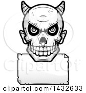 Clipart Of A Halftone Black And White Devil Skull Over A Blank Paper Sign Royalty Free Vector Illustration