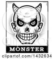 Clipart Of A Halftone Black And White Devil Skull Over Monster Text Royalty Free Vector Illustration