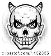 Clipart Of A Halftone Black And White Devil Skull Royalty Free Vector Illustration