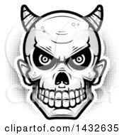 Poster, Art Print Of Halftone Black And White Devil Skull