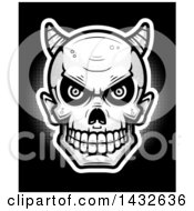 Clipart Of A Halfton Black And White Devil Skull Over Black Royalty Free Vector Illustration by Cory Thoman