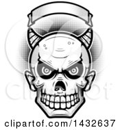 Clipart Of A Halfton Black And White Devil Skull Under A Blank Banner Royalty Free Vector Illustration