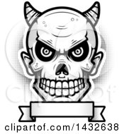 Clipart Of A Halfton Black And White Devil Skull Over A Blank Banner Royalty Free Vector Illustration