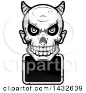 Clipart Of A Halftone Black And White Devil Skull Over A Blank Sign Royalty Free Vector Illustration by Cory Thoman