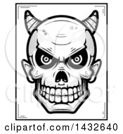 Clipart Of A Halftone Black And White Devil Skull Poster Design Royalty Free Vector Illustration by Cory Thoman