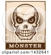 Poster, Art Print Of Halftone Evil Human Skull Over Monster Text