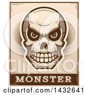 Poster, Art Print Of Halftone Evil Human Skull Over Monster Text