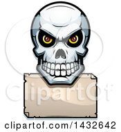 Clipart Of A Halftone Evil Human Skull Over A Blank Paper Sign Royalty Free Vector Illustration by Cory Thoman