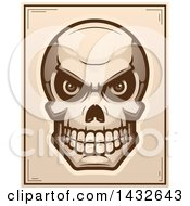 Clipart Of A Halftone Evil Human Skull Poster Design Royalty Free Vector Illustration