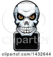 Clipart Of A Halftone Evil Human Skull Over A Blank Sign Royalty Free Vector Illustration by Cory Thoman