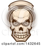 Clipart Of A Halftone Evil Human Skull Under A Blank Banner Royalty Free Vector Illustration