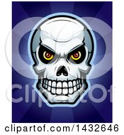 Clipart Of A Halftone Evil Human Skull Over Rays Royalty Free Vector Illustration