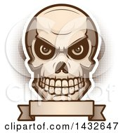 Clipart Of A Halftone Evil Human Skull Over A Blank Banner Royalty Free Vector Illustration
