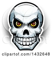 Clipart Of A Halftone Evil Human Skull Royalty Free Vector Illustration