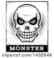 Clipart Of A Halftone Black And White Evil Human Skull Over Monster Text Royalty Free Vector Illustration