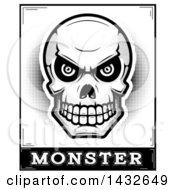 Poster, Art Print Of Halftone Black And White Evil Human Skull Over Monster Text