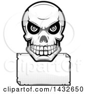 Clipart Of A Halftone Black And White Evil Human Skull Over A Blank Paper Sign Royalty Free Vector Illustration