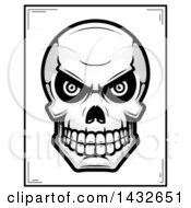 Clipart Of A Halftone Black And White Evil Human Skull Poster Design Royalty Free Vector Illustration