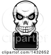 Clipart Of A Halftone Black And White Evil Human Skull Over A Blank Sign Royalty Free Vector Illustration