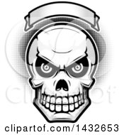 Clipart Of A Halftone Black And White Evil Human Skull Under A Blank Banner Royalty Free Vector Illustration