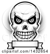 Clipart Of A Halftone Black And White Evil Human Skull Over A Blank Banner Royalty Free Vector Illustration