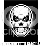 Poster, Art Print Of Halftone Evil Human Skull On Black