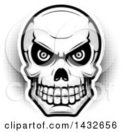 Clipart Of A Halftone Black And White Evil Human Skull Royalty Free Vector Illustration by Cory Thoman