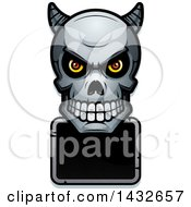 Clipart Of A Halftone Demon Skull Over A Blank Sign Royalty Free Vector Illustration by Cory Thoman