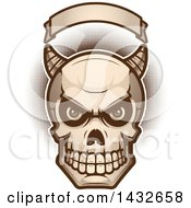 Clipart Of A Halftone Demon Skull Under A Blank Banner Royalty Free Vector Illustration by Cory Thoman
