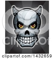 Clipart Of A Halftone Demon Skull Over Rays Royalty Free Vector Illustration by Cory Thoman