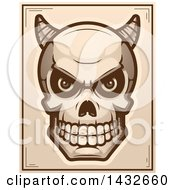 Clipart Of A Halftone Demon Skull Poster Design Royalty Free Vector Illustration by Cory Thoman