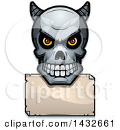 Clipart Of A Halftone Demon Skull Over A Blank Paper Sign Royalty Free Vector Illustration by Cory Thoman