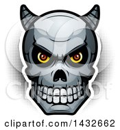 Clipart Of A Halftone Demon Skull Royalty Free Vector Illustration