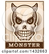 Clipart Of A Halftone Demon Skull Over Monster Text Royalty Free Vector Illustration by Cory Thoman