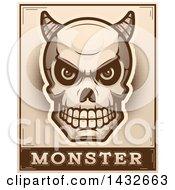 Poster, Art Print Of Halftone Demon Skull Over Monster Text