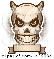 Clipart Of A Halftone Demon Skull Over A Blank Banner Royalty Free Vector Illustration by Cory Thoman