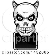 Clipart Of A Halftone Black And White Demon Skull Over A Blank Sign Royalty Free Vector Illustration by Cory Thoman