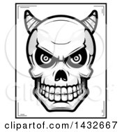 Clipart Of A Halftone Black And White Demon Skull Poster Design Royalty Free Vector Illustration by Cory Thoman