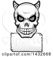 Clipart Of A Halftone Black And White Demon Skull Over A Blank Paper Sign Royalty Free Vector Illustration by Cory Thoman