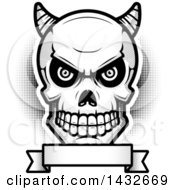 Clipart Of A Black And White Halftone Demon Skull Over A Blank Banner Royalty Free Vector Illustration