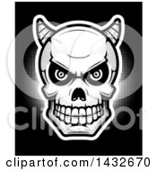 Clipart Of A Black And White Halftone Demon Skull On Black Royalty Free Vector Illustration by Cory Thoman
