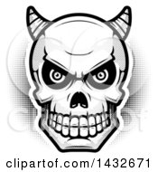 Clipart Of A Black And White Halftone Demon Skull Royalty Free Vector Illustration by Cory Thoman