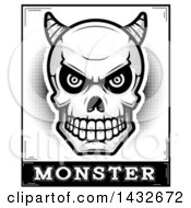 Clipart Of A Halftone Black And White Demon Skull Over Monster Text Royalty Free Vector Illustration by Cory Thoman