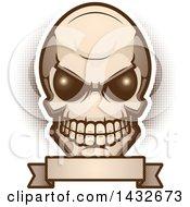 Poster, Art Print Of Alien Skull Over A Blank Banner