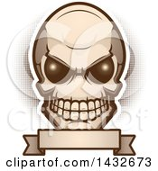 Clipart Of An Alien Skull Over A Blank Banner Royalty Free Vector Illustration