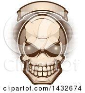 Poster, Art Print Of Alien Skull Under A Blank Banner