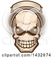 Clipart Of An Alien Skull Under A Blank Banner Royalty Free Vector Illustration