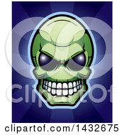 Clipart Of A Halftone Green Alien Skull Over Blue Rays Royalty Free Vector Illustration